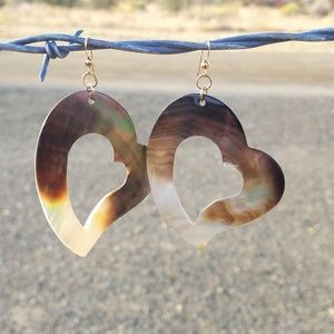 Carved Mother Pearl Heart Earrings